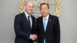 World Vision President Kevin Jenkins with Ban Ki Moon, Secretary-General of the United Nations. (UN Photo.)