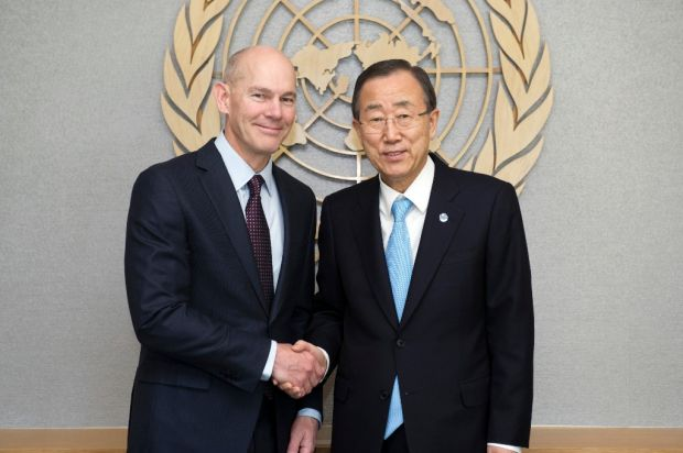 World Vision International President Kevin Jenkins with Ban Ki Moon, Secretary-General of the United Nations. (UN Photo.)
