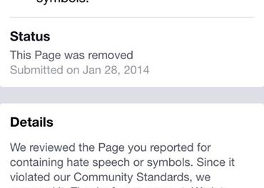 "A notification on Facebook to remove the ""Jewish Ritual Murder"" page"