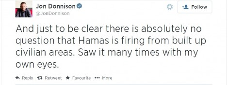 BBC correspondent (and big-time Israel hater) Jon Donnison is forced to make an admission...