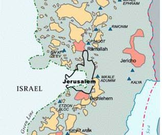 Based on the outdated Oslo II agreement, Palestinians areas A(pink) and B(yellow) are totally surrounded  by Israeli controlled area  C(grey), comprising 60% of the West Bank
