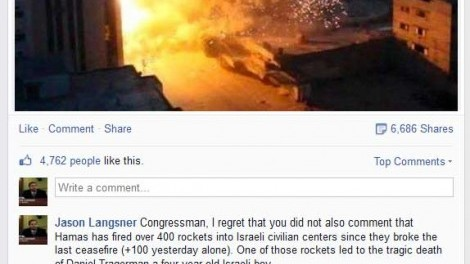 "A former member of the U.S. Congress publishing ""inciteful"" not ""insightful"" remarks to Facebook during Operation Protective Edge"