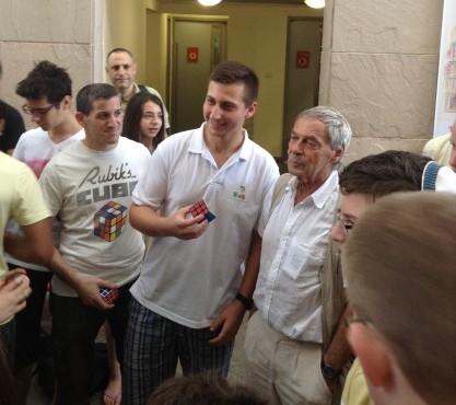 Israel's Rubik's Cube Champion with Prof Rubik