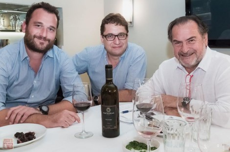Rolland's associate: Corsican winemaker Thierry Haberer, Amphorae manager Mitia Gurevich with Michel Rolland (photo: Shai Gilboa)