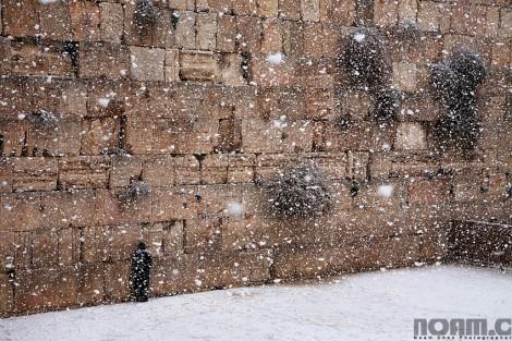 western wall during snowfall