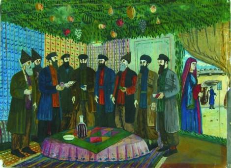 "Artist Shalom Koboshvili (1876–1941). Feast Of ""Sukkot,"" 1938. {{PD-US}}"