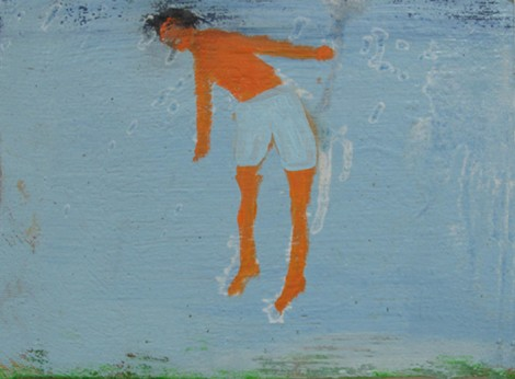 "Man Under Water, oil on canvas, 8"" x 6 "" 2010 c. by Katherine Bradford"