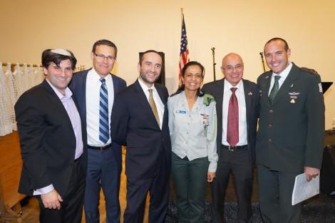 From R-IDF cantor Shai Abramson, consul Danny Gadot, Colonel Yafa Mor, Rabbi Pini Dunner of YINBH, Consul General David Siegel, cantor Nati Bar Am-Photo Orly Levy