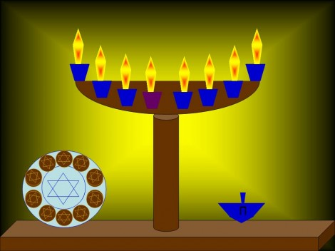 The graphic altered to show the Hanukkiah