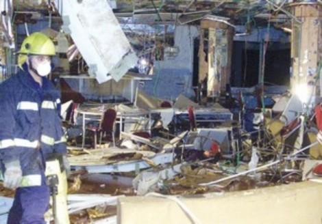 Terrorist blast damage at Park Hotel in Netanya March 12, 2002