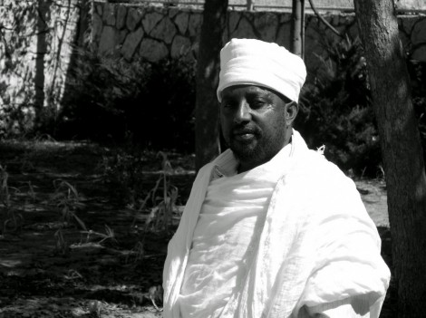 Qes Semai Elias outside the Beta Qes Semai Elias, director of the Council of kohanim of the Ethiopian Jews in Israel,  outside the Beta Israel synagogue in Ramat Eliyahu. Photo - Shai Afsai
