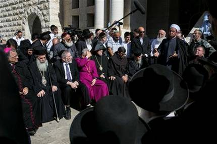 Sheikh Samir Assi, the imam of the Al-Jazaar mosque in the northern Israeli city of Acre, addresses Christian, Muslim and Jewish clerics