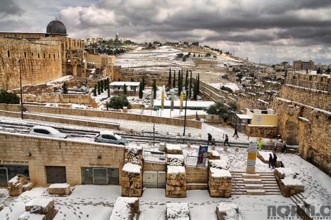 snowy landscape in jerusalem