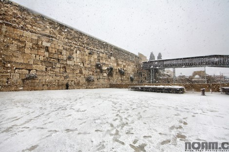 western wall in white snow