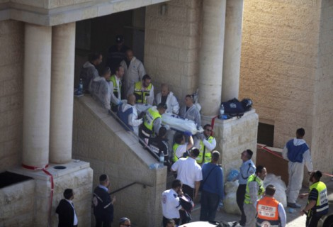Removing the victims from the synagogue in Har Nof
