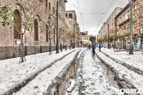 snow covered jaffa street in jerusalem
