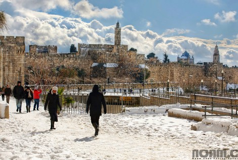 snow in jerusalem old city