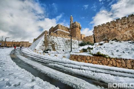 Tower of David under snow, Jerusalem