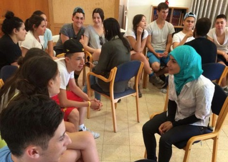 Federation of Zionist Youth tour group in an encounter with Israeli Arabs in the Galil.