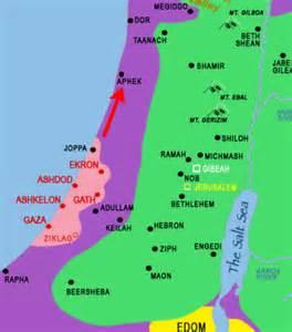 Philistines map (Purple is the land the Plishtim inhabited)