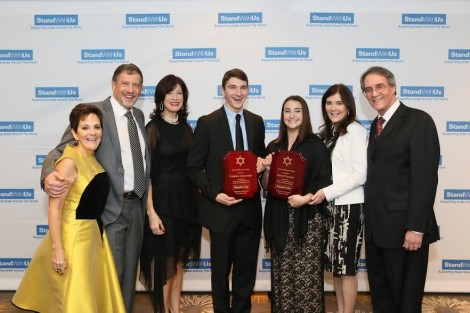 From L-Debbie and Naty Saidoff Board members, Esather Renzer president, students Gabriel Goldstein and Sara Tager, CEO Roz and Jerry Rothstein-Photo by Johah Light Photography