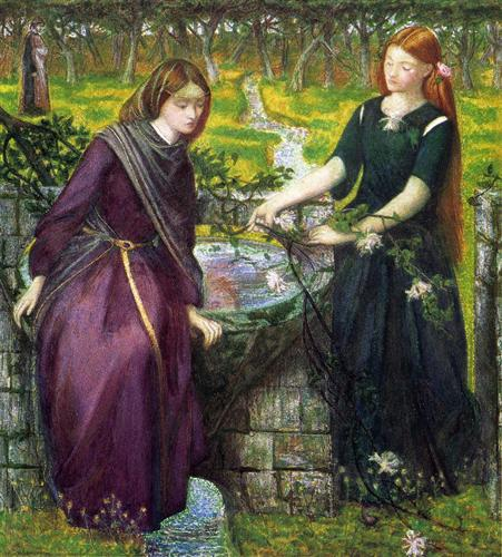 Dante's Vision of Rachel and Leah by Dante Gabriel Rossetti (1855) at Tate Gallery, London