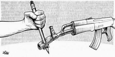 pencil and gun