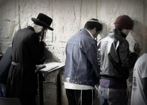 Bnei Menashe men pray at the Kotel for the 1st time - Photo credit: Laura Ben-David