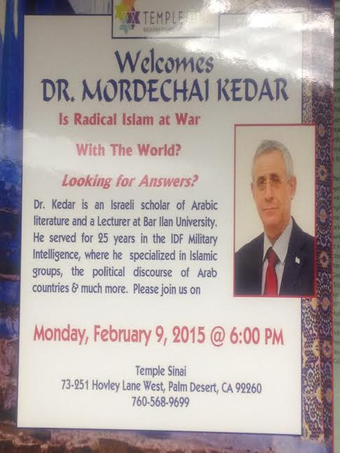 Dr. Mordechai Kedar lectures at Temple Sinai, Palm Desertm, February 9, 2015-Photo Nurit Greenger