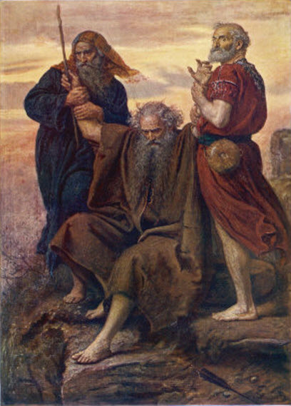 Painting of Moses' Arms being held up by Aaron and Hur