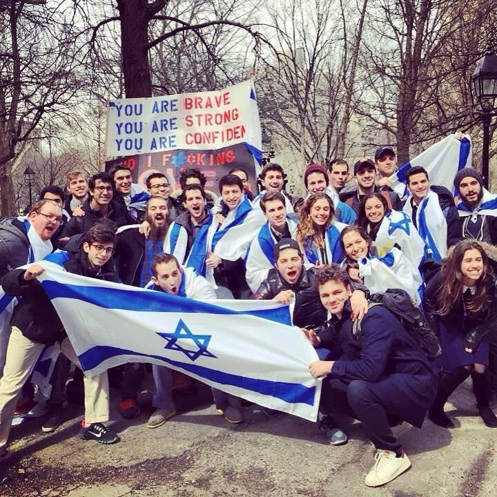NYU students demonstrating for Israel Peace Week