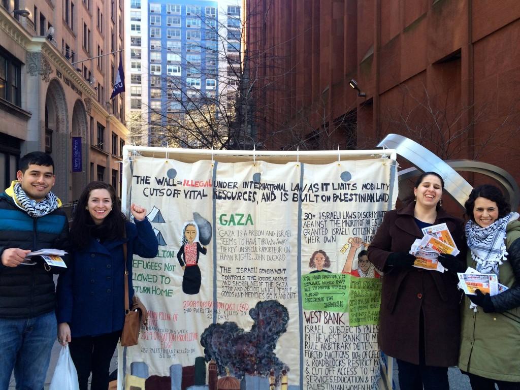 NYU SJP members demonstrating