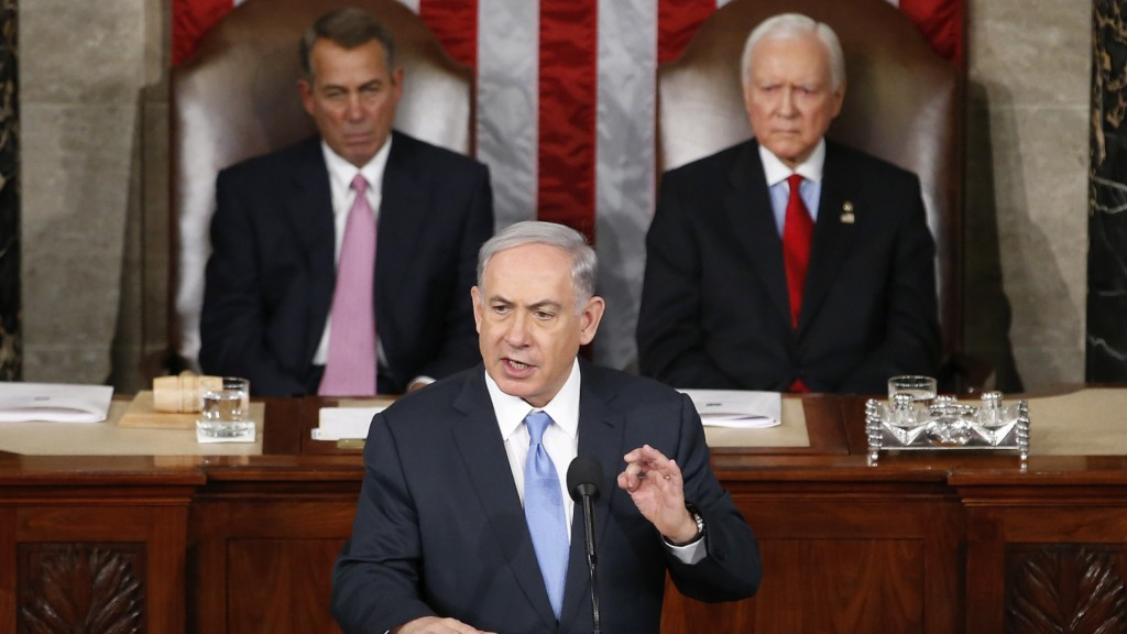 "Prime Minister Benjamin ""Bibi"" Netanyahu addresses the US Congress."