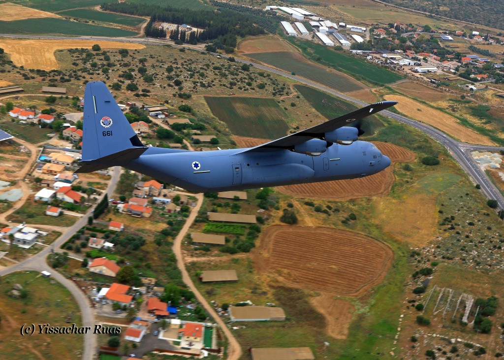 The IAF's newest addition, the C-130J-30 flying over central Israel. This aircraft is used as one of the Paratroop Brigade's transport platforms