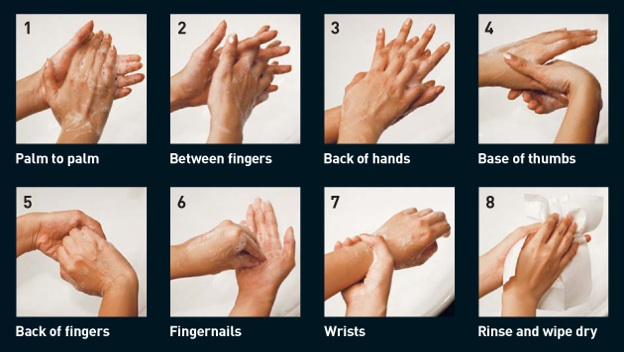 hand washing technique 8-step
