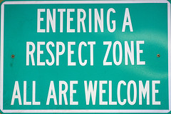Entering a Respect Zone Road Sign
