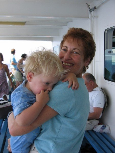 Mom and proud grandma, Audrey Borschel, holding a squirming Israeli grandson. (courtesy)