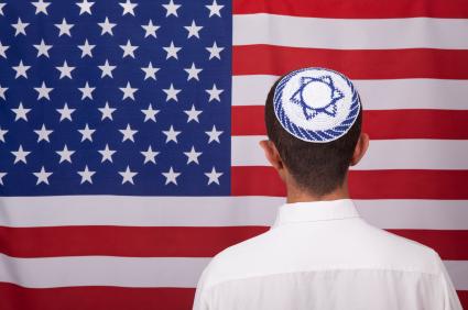 American Flag and boy wearing Star of David Yarmulke