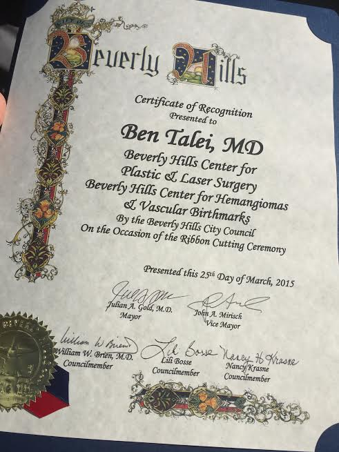 City of Beverly Hills certificate of recognition