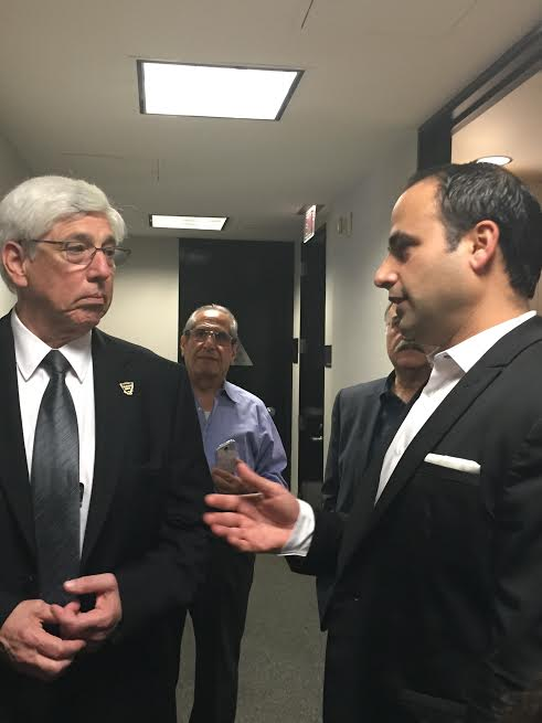 L-Beverly Hills Mayor, Dr. Julian A. Gold, MD and Dr. Ben Talei in discussion about the clinic-Photo N Greenger