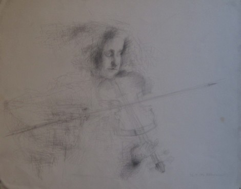 Temima, Violinist Series graphite on Arches paper 37 x 45 cm 26.4.95 © 2015 by Heddy Abramowitz