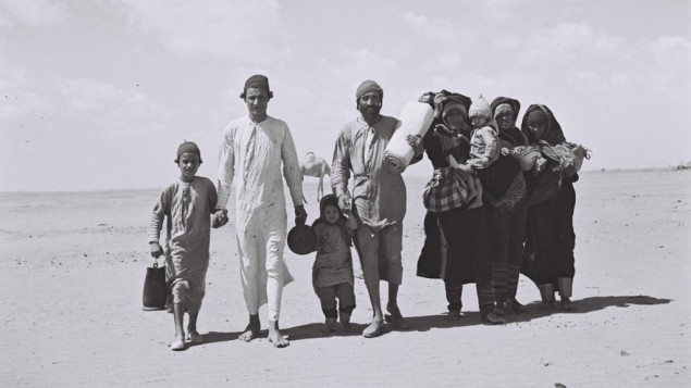 Yemenite Jews walking to Aden, the site of a reception camp, ahead of their emigration to Israel, 1949. (photo credit: Kluger Zoltan/Israeli National Photo Archive/public domain)