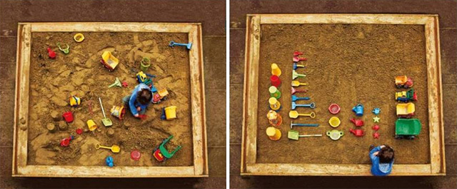 Chaos vs Order - child's sandbox