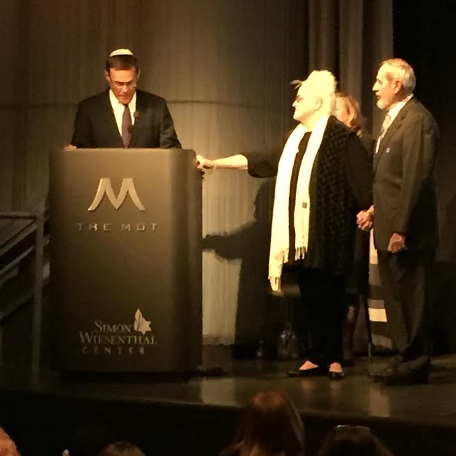 March 16, 2016-Museum of Tolerance (MOT), Los Angeles, Holocaust Memorial Day- Maria & Lajos Gruber were posthumously awarded by the State of Israel the Righteous of Nations Award, presenting to the Gruber children  Consul General David Siegel