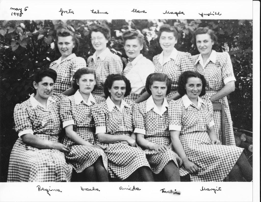 The ten women in matching dresses, their names hand written by Judith Rubinstein.