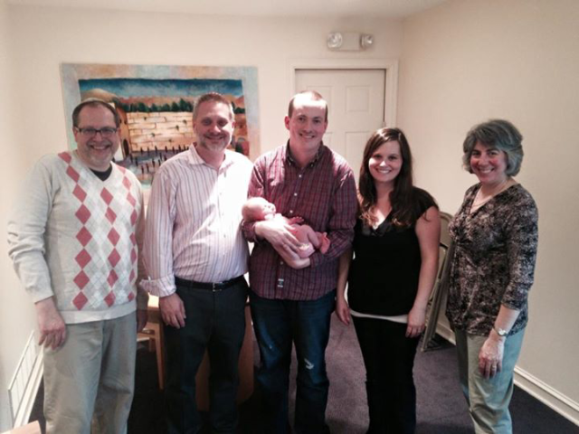 Meir Bargeron, Rabbi Michael Adam Lats, Myself holding my daughter, my wife Amber, and Wendy Goldberg
