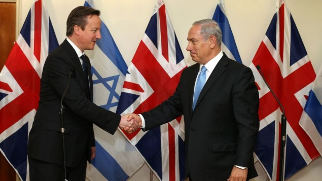 "Prime Minister David Cameron in an appearance with Prime Minister Benjamin ""Bibi"" Netanyahu. (Photo by Amit Shabi/POOL/Flash90)"