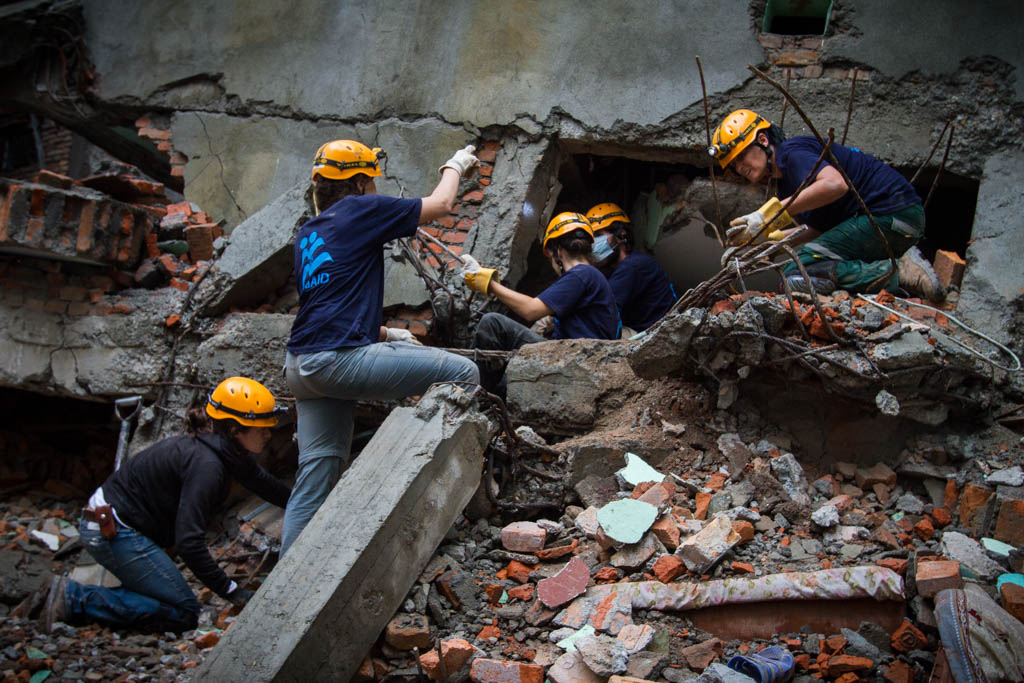 IsraAID working in the Gongabu district of Kathmandu. Also known as The 'Israeli Site' since the team's arrival.