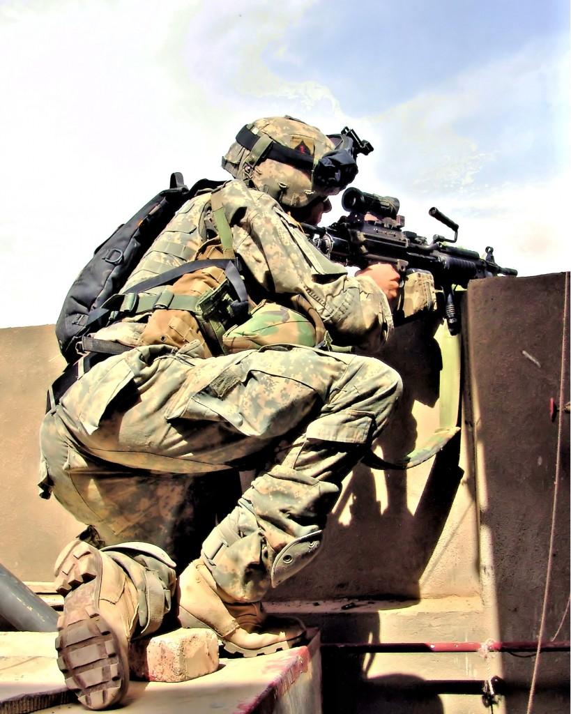 Spc. 4 Robert Killion, 101st Airborne Division, in combat in Ramadi.