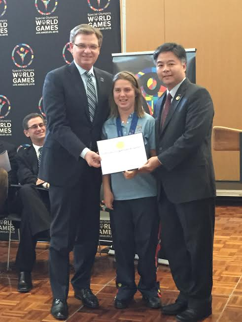 L-Patrick McClenahan President & CEO 2015 Special Olympics World Games, Lucy Meyer, Global Messenger, Congressman Ted Lieu